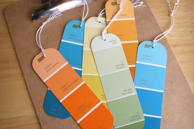 Paint colour swatch bookmarks