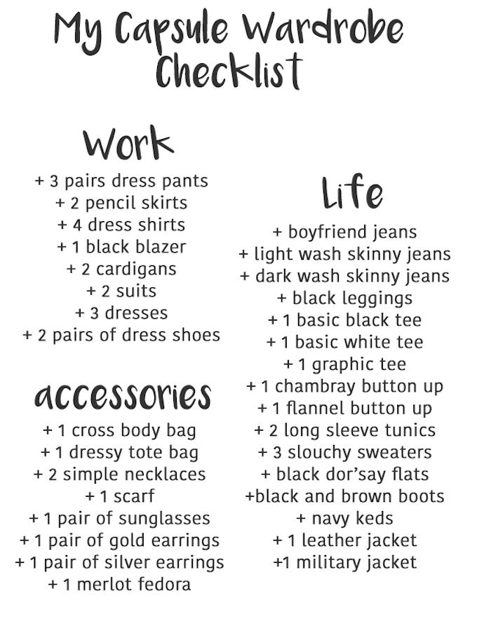 Capsule Wardrobe Checklist