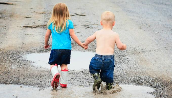 Children walking in wellingtons
