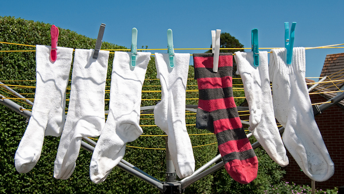 Odd socks hanging out to dry