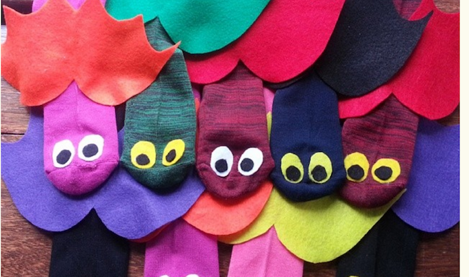 Odd socks made in to bat puppets