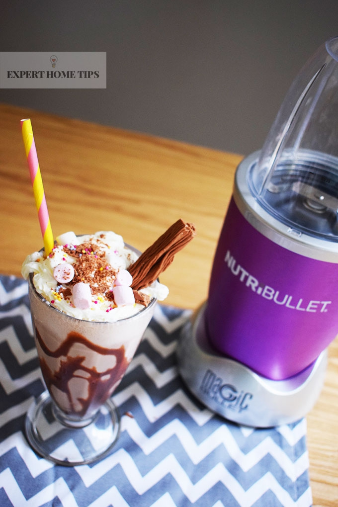Chocolate Flake & Marshmallows party milkshake, made in a NutriBullet