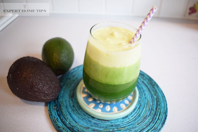 Avocado layered smoothie with avocados