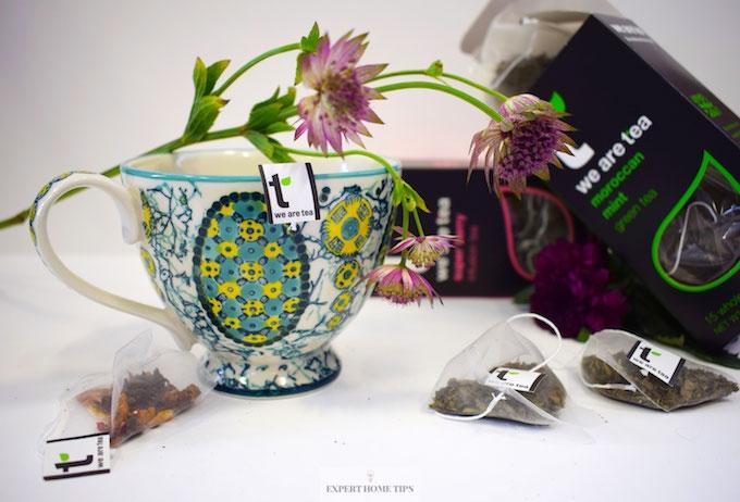 Tea bags on flowers
