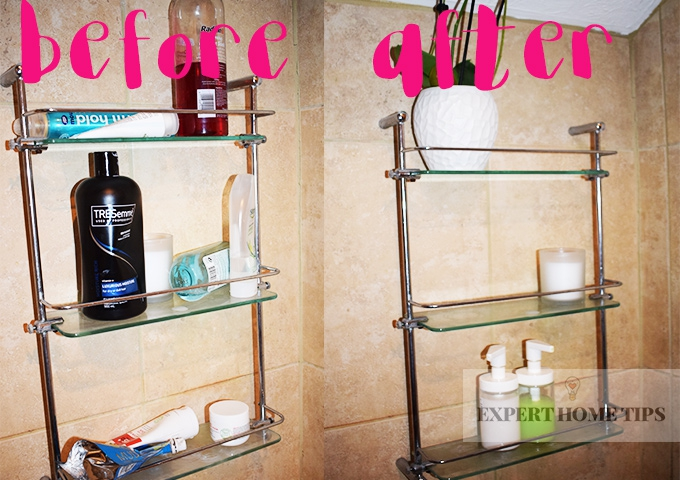 before and after decluttering your bathroom