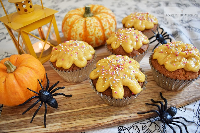 Pumpkin Spice Cupcakes on a board