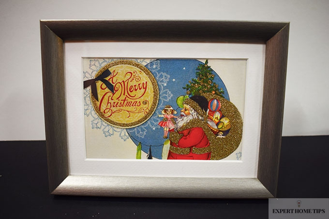 Christmas cards in a frame