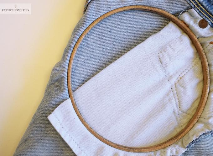underside of denim in embroidery hoop
