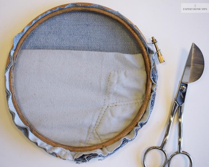 Denim embroidery hoop