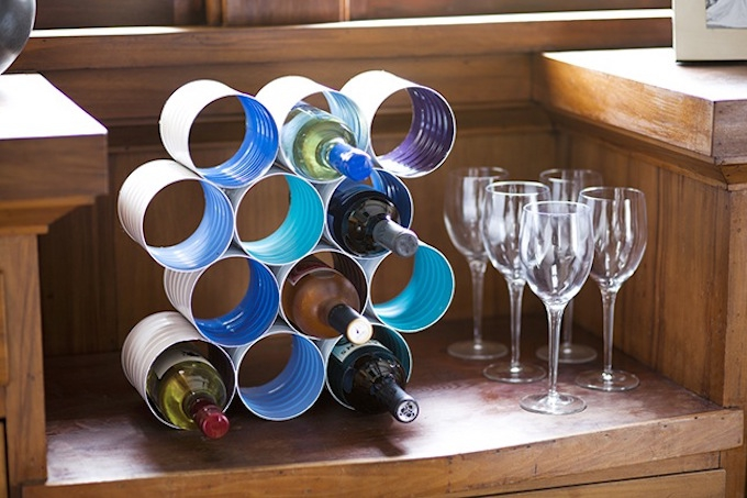 tin can wine rack