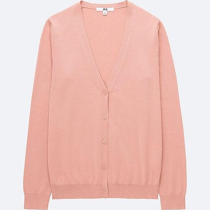 Uniqlo pink cotton cardigan