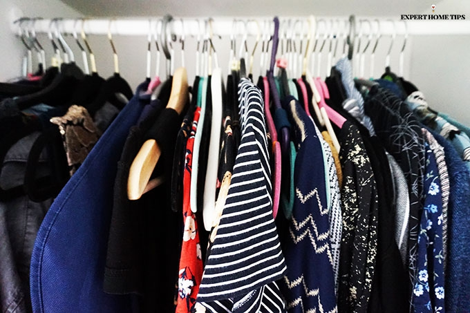 Clothes in a wardrobe