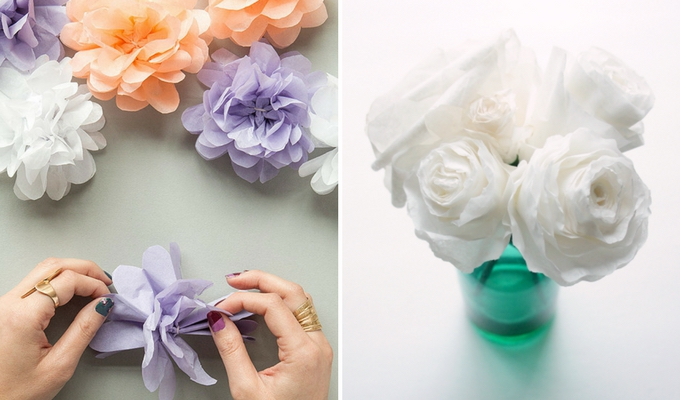 cheap DIY paper wedding flowers