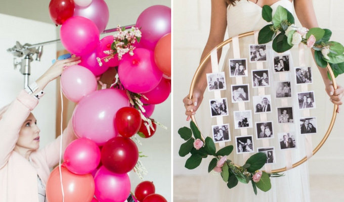 budget DIY wedding balloon wreath & photos