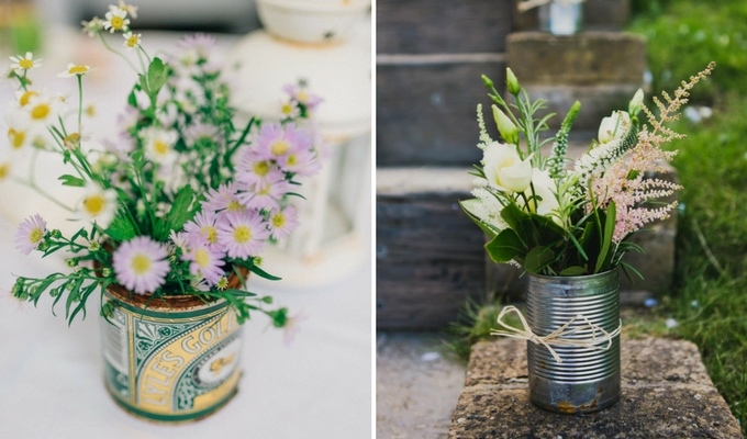 cheap wedding centrepieces using cans