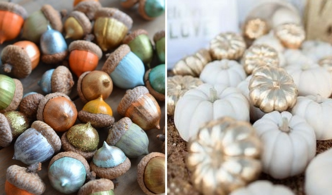 cheap seasonal wedding decor using pumpkins & acorns
