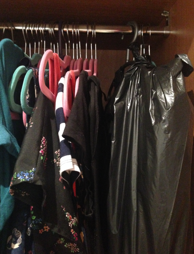 clothes in bin bags