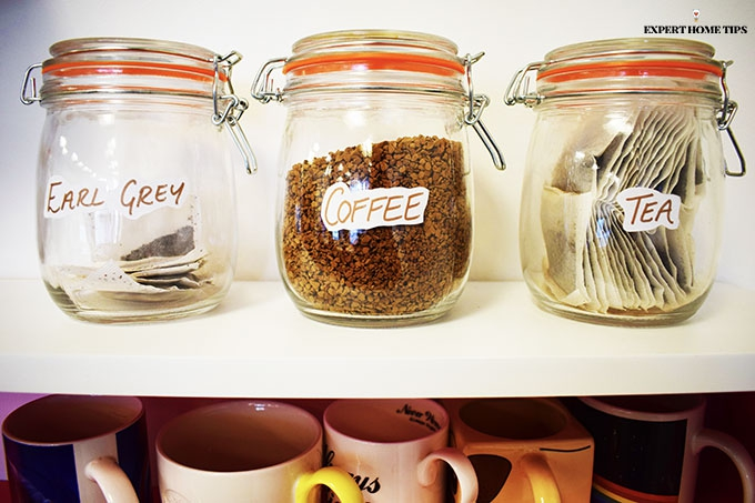 Tea and coffee in jars