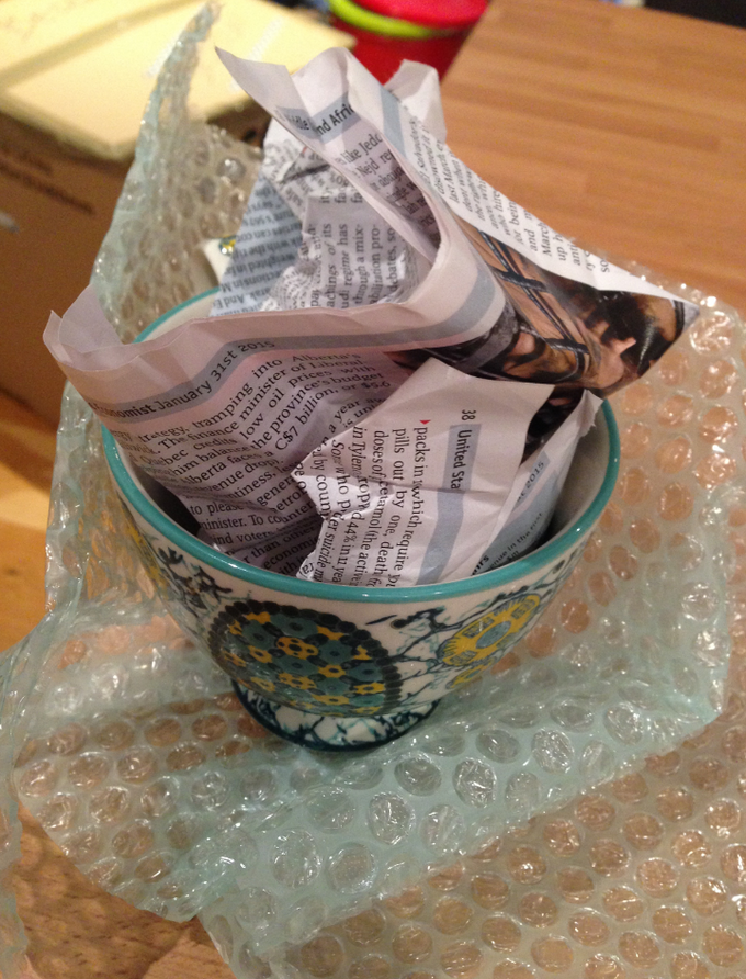 newspaper and bubble wrap