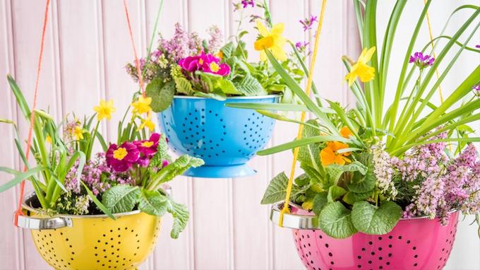 Colander garden decor basket