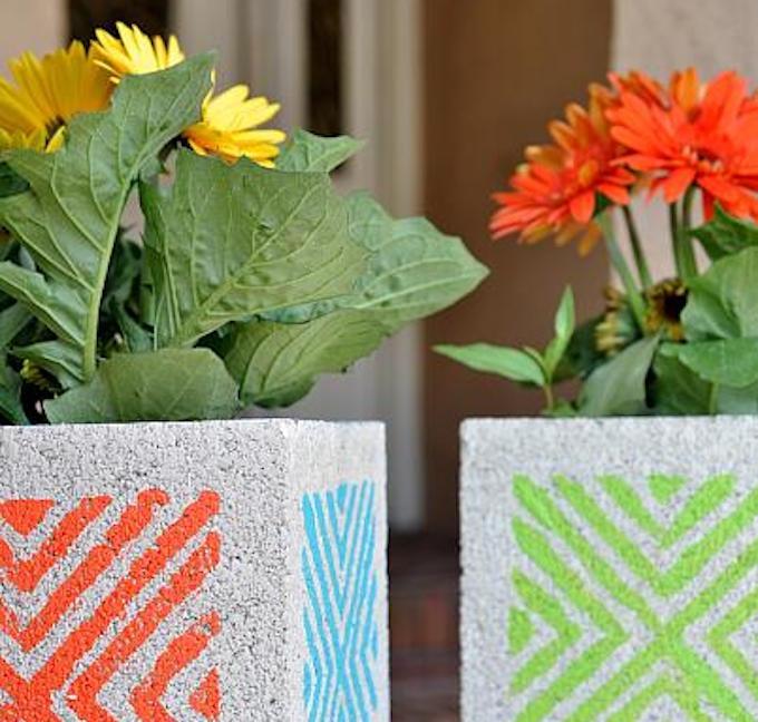 diy stencilled concrete block planters