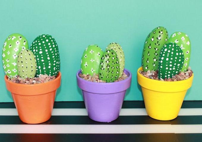 diy cactus rocks garden decor