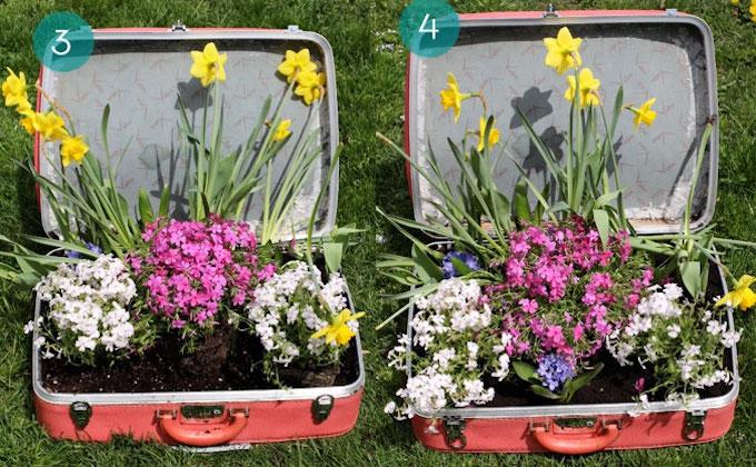 garden decor vintage suitcase
