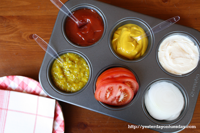 Condiments in a muffin tray