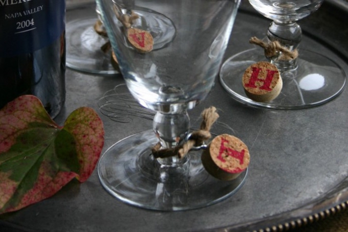 WINE CORK WINE GLASS CHARMS