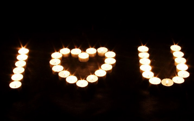 Message made from tea lights