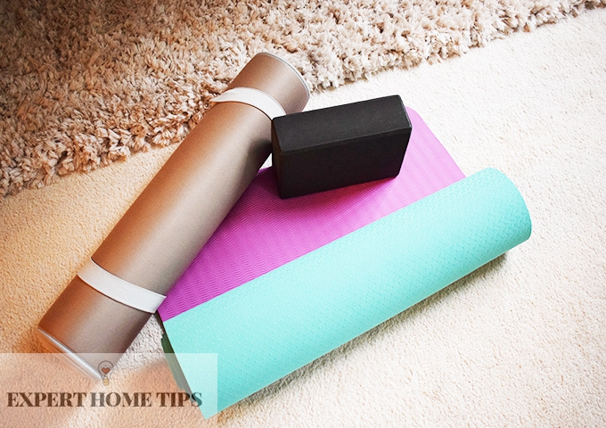 yoga mat and block at home
