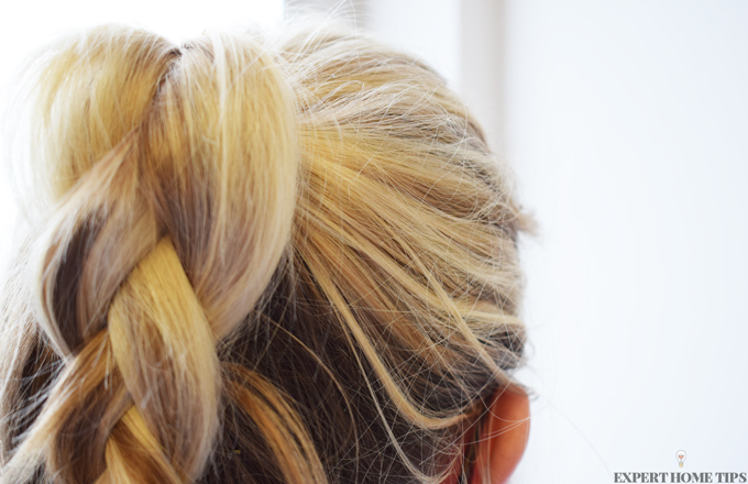 plaited blonde ponytail