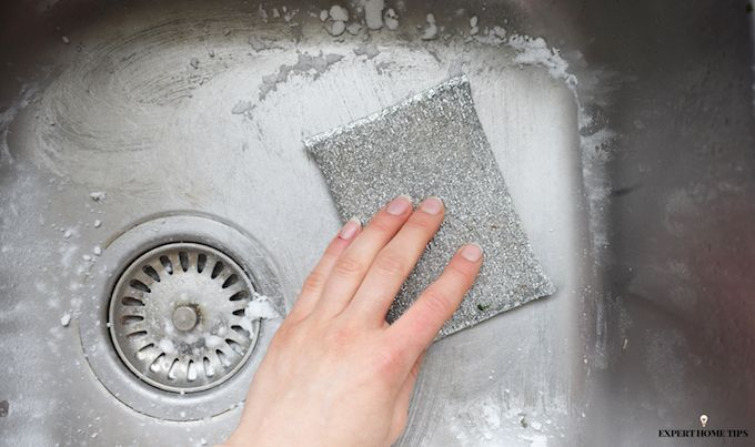 SCRUBBING KITCHEN SINK