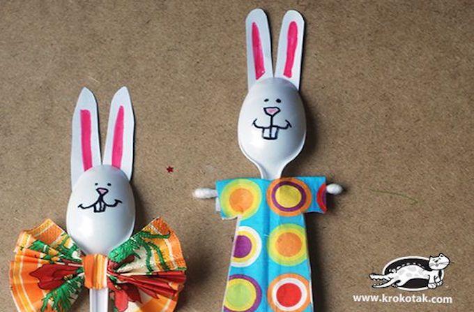 plastic spoon craft easter bunnies