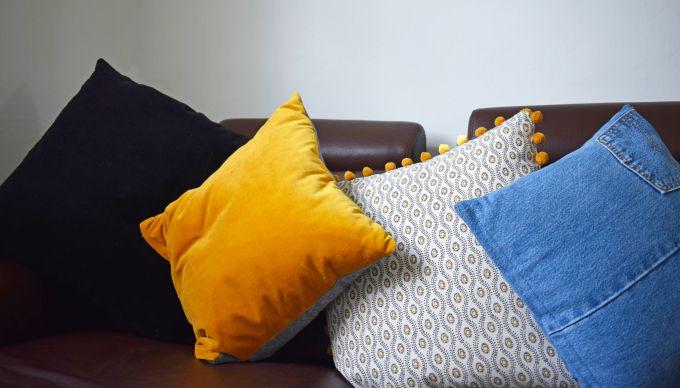 pillows on sofa