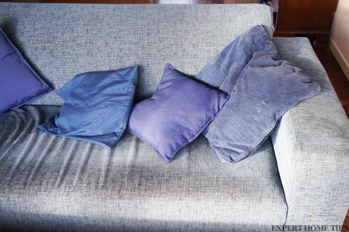dirty blue sofa