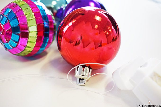 hang baubles with dental floss