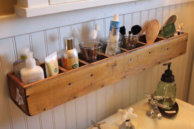 vintage crate bathroom storage