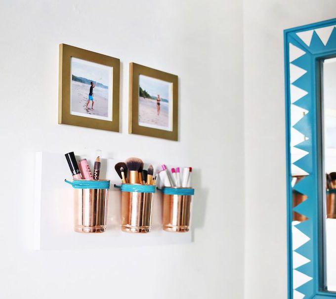 diy wall storage cups makeup