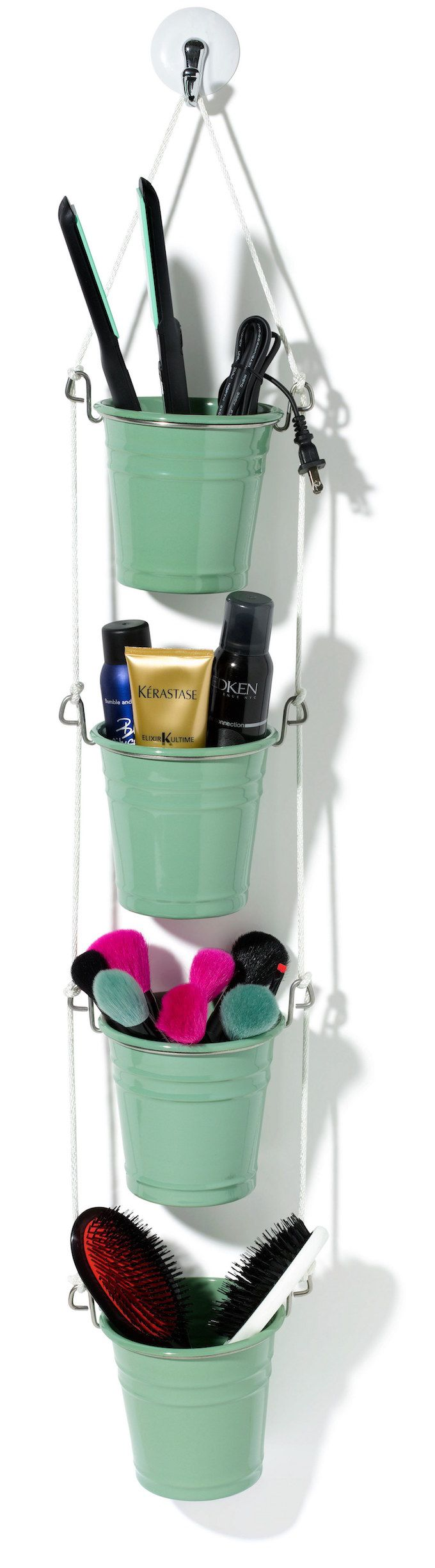 bucket hanging storage diy bathroom