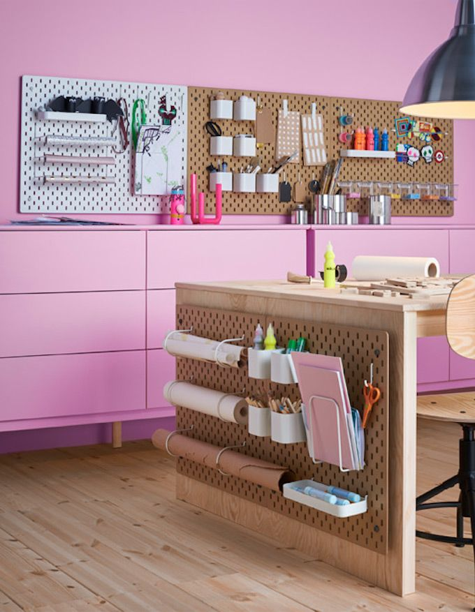 ikea pegboard office organisation
