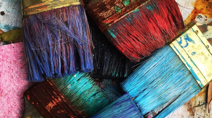 coloured paint brushes