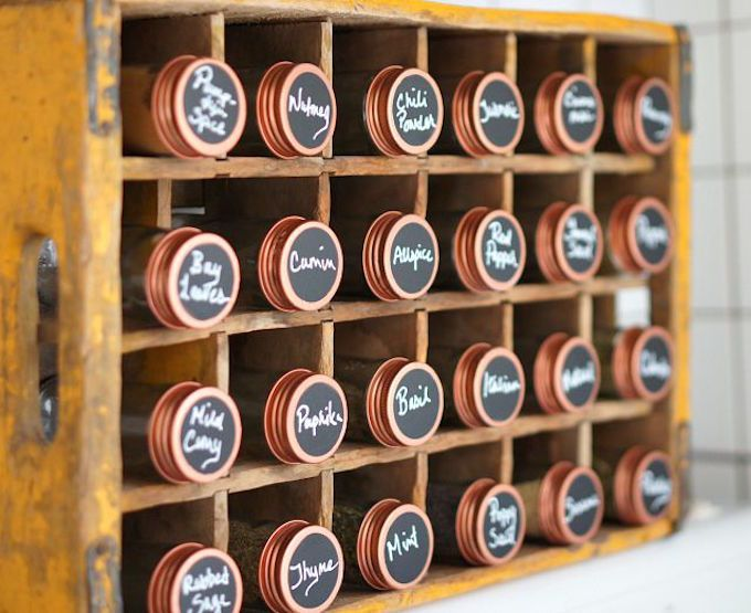 chalk board paint spice jar labels