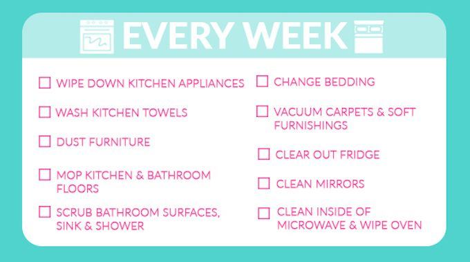 weekly cleaning tasks