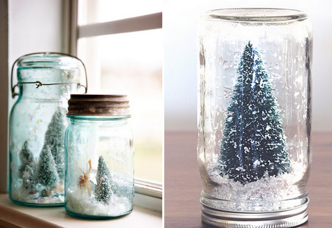 Homemade snow globes via Flat Broke Bride.