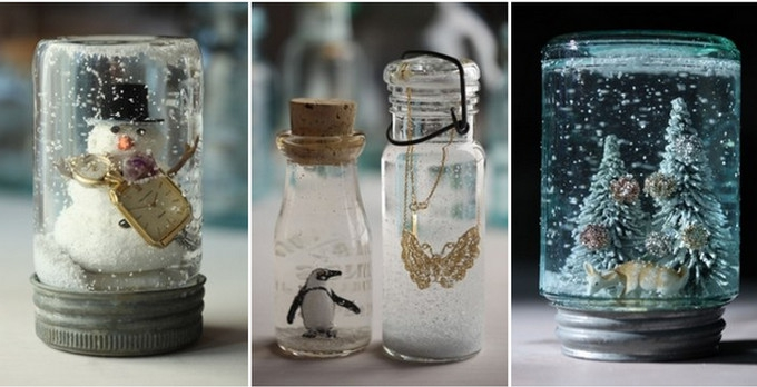 Even the smallest jar can create a whimsical snow globe.