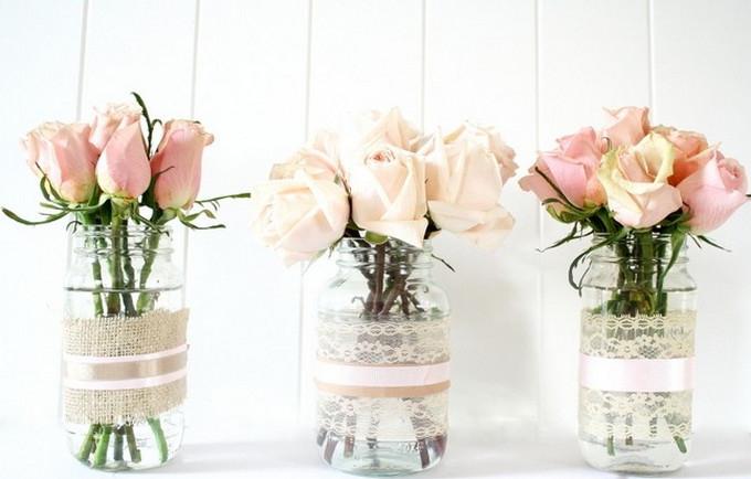 Reuse glass jar for flower vase