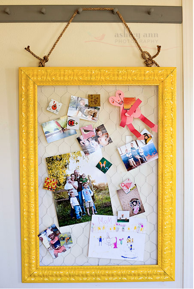 yellow notice board chicken wire DIY