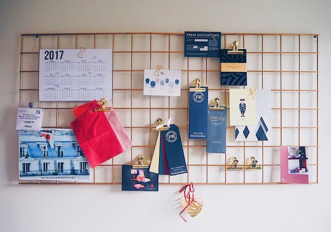 metal wire notice board gold