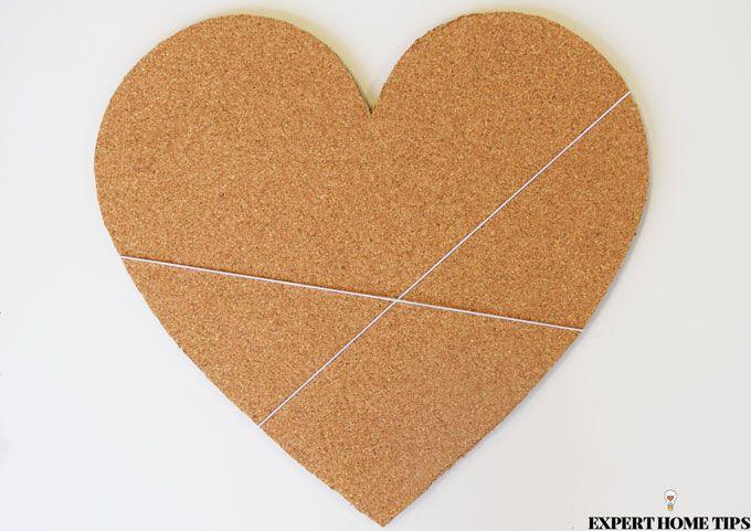 love heart cork board string